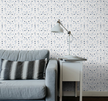 Make your living room or dining room look spectacular and modern with this flower wallpaper. Blue lifght design on the white background.