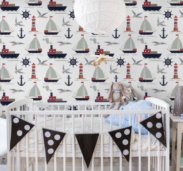 This project of kids wallpaper is showing many boats, anchors and other elements typical for a navy motif. Easy to remove without any stains.