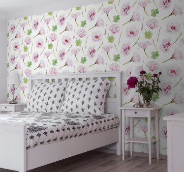 This flower wallpaper will make your bedroom look cosy and full of romantic atmosphere. The design of subtle pink flowers and green leaves.
