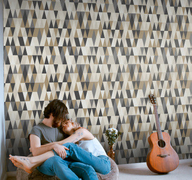If you love the scandinavian decorative style, then this triangle wallpaper with a geometric pattern in shades of brown is perfect for you!