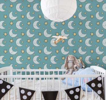 Looking for a beautifull way to personalize your baby's room? Then, this kids room wallpaper with a pattern of moons and stars is perfect for you.