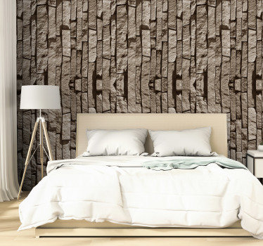 Fantastic textured wallpaper with a pattern composed by stones disposed vertically through the wallpaper perfect for rustic and modern decorations.