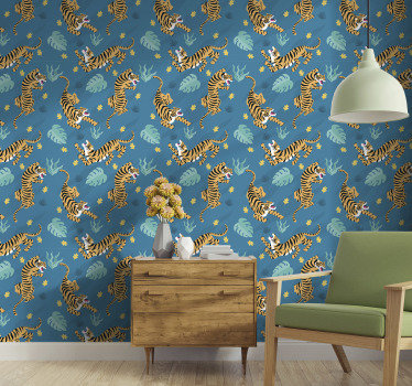If you love oriental animal patterns, this animal wallpaper perfect with a pattern of fierce tigers in a dark blue background is perfect for you.