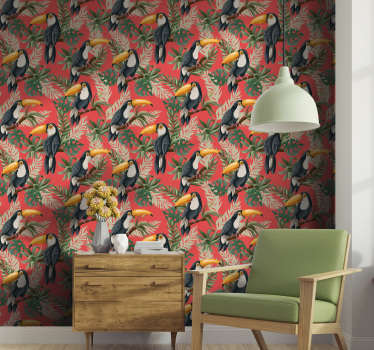 这张梦幻般的自然壁纸由树枝上美丽的巨嘴鸟组成,充满欢乐和生活。
