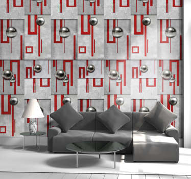 Amazing concrete style wallpaper with red geometric lines and white buttons perfect to your living room. Very easy to apply.