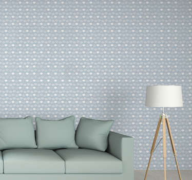 Beautiful patterned wallpaper composed of multiple gray and white clouds on a pastel blue background for your living room or children's room.