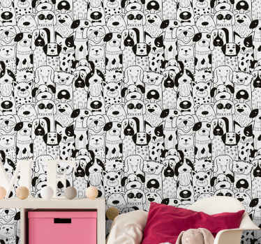 This fun animal wallpaper with illustration of several different dogs in black and white will give a fantastic decoration to your kids' room.