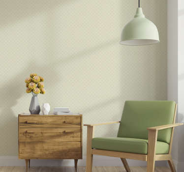 Beautiful beige wallpaper with a diamond pattern formed by dots perfect to decorate your living room in an original way.