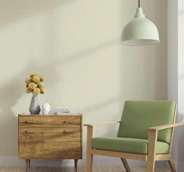 Bella carta da parati beige con un motivo a rombi formato da punti perfetti per decorare il tuo salotto in modo originale.