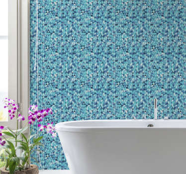 This beautiful patterned wallpaper formed by multiple blue triangles of different colors is the perfect decoration for your bathroom.