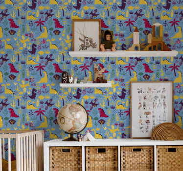 Kids bedroom wallpaper with adorable dinossaurs in beautiful colours, all representing different types of those cute creatures. Order it now!