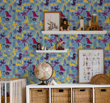 Papel para pared de dormitorio infantil con adorables dinosaurios en hermosos colores, todos representando diferentes tipos de esas lindas criaturas