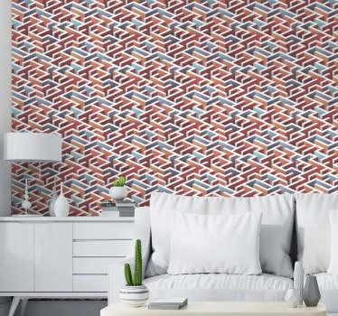 在这个惊人的现代客厅壁纸的无尽迷宫的惊人设计中迷路。由优质材料制成!