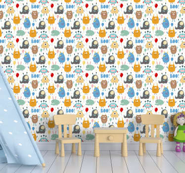 Redecorate your childrens bedroom in a quick way with this amazing wallpaper for kids with adorable and cute little monsters.