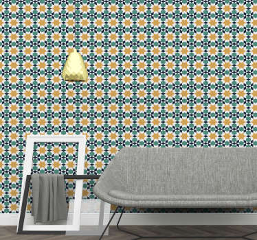 Order an ornamental wallpaper and say goodbye to boring walls. With this morrocan patterns in vivid colours you will always have a room full of sun.