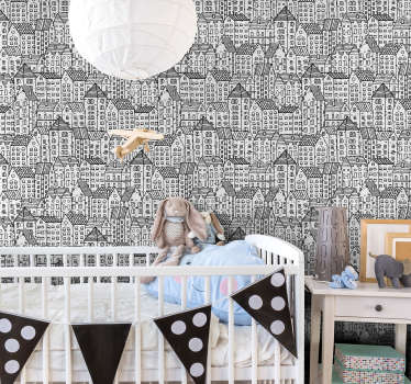 Modern and stylish kids bedroom wallpaper with doodles of buildings will make their rooms a nest of joy, happiness and creativity.