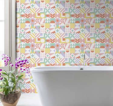 Forget about boring walls with this tile effect wallpaper that will easily and cheaply transform your bathroom into an amazing place.