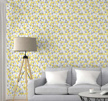 Order this stunning triangle wallpaper with shapes in yellow, grey and white. This will make your rooms seems to be bigger and to have more depth.