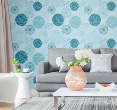 The time to redecorate your living room has come! Order this stunning blue wallpaper and forget about boring walls in a matter of seconds.