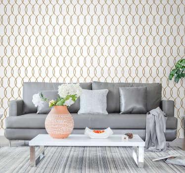 Ha llegado el momento de redecorar sus habitaciones. Compre este papel pintado de formas doradas y haga que sus interiores estén llenos de elegancia