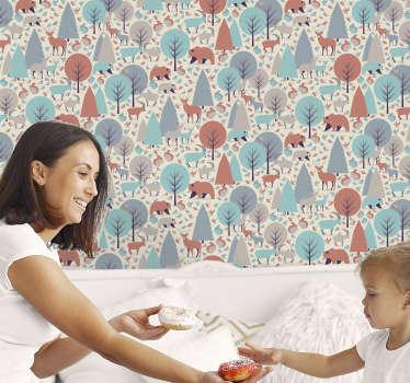 Impulse la creatividad de sus hijos con este papel pintado lleno de animales y árboles salvajes, todo en colores muy hermosos y sutiles.