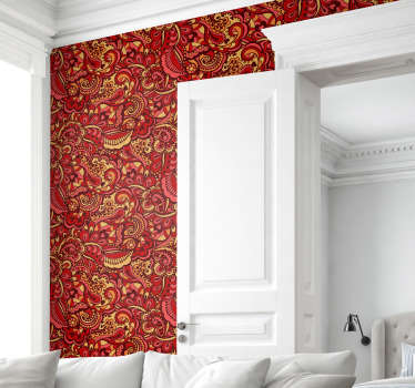 High quality red wallpaper with many ornamental details will transform your house into a place full of elegance and luxury.