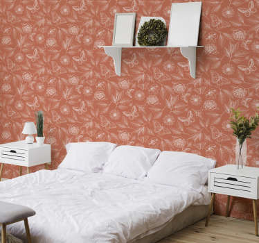 Full of style, vintage orange wallpaper with an elegant pattern of elements botanical garden. High quality and matte finishing!