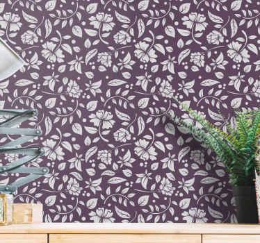 Decorați-vă camera de zi cu acest tapet ornamental cu designul modelului alb pe fondul violet. înaltă calitate și aplicație ușoară!