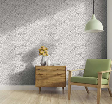 这款带有花卉图案的灰色图案墙纸可重新装修您的客厅。亚光饰面,无气泡。