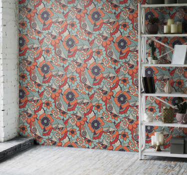Выбирайте эти современные обои для гостиной с рисунком цветов в стиле пейсли. высокое качество материала, без отражения света.