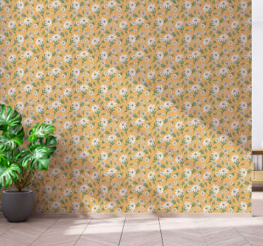 Pattern wallpaper for flower lovers with classic daisies on yellow background. High quality material, no light reflections!