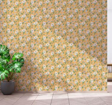 Papel pintado de patrón para amantes de las flores con margaritas clásicas sobre fondo amarillo ¡Material de alta calidad y sin reflejos de luz!
