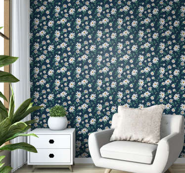 Let the redecoration begin with this nature wallpaper with pattern of daisies that beautifully create a contrast on the blue background.