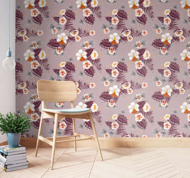 Discover the nature through those flower wallpaper with big white petals and purple leaves of the really beautiful flower!