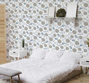 Umfassen Sie die Flower Power mit dieser Schlafzimmertapete mit beigen Gänseblümchen. Jeder wird sich in dieses erstaunliche Design verlieben!