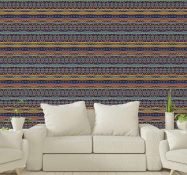 A colorful and impressive patterned wallpaper in tribal style with vibrant colors that will create a pleasant and fun atmosphere in your spaces.