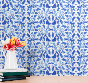 Beautiful ornamental wallpaper with an elegant pattern of blue floral ornaments on a white background perfect for your living room or bedroom.