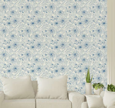 A beautiful ornamental wallpaper with flowers drawn in a linear style in a blue color on a pearl white background, ideal for elegant decorations.