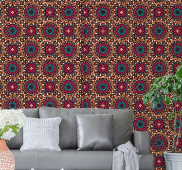 Espectacular papel pintado moderno de sala de estar con un majestuoso patrón de mandalas coloridas. Sus colores vibrantes le darán vida a su hogar.