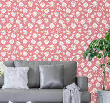 Transform your home into a real garden with this magnificent floral wallpaper with a pattern of beautiful daisies on a pink background.