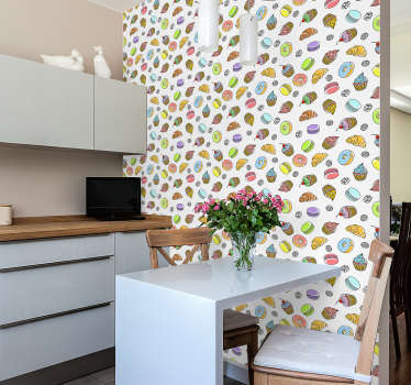 Are you a food lover? Then this kitchen wallpaper with a colorful pattern of cakes and pastries is the perfect complement for your decor.