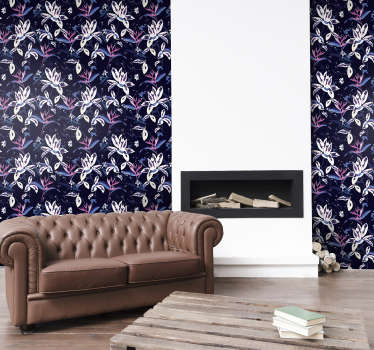 Magnificent floral wallpaper with pattern full of beautiful white flowers on a dark background ideal for decorating your living room or bedroom.