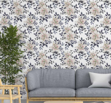 This floral wallpaper with a pattern of white lilies with red dots inside and gray leaves is the perfect decoration for your living room or bedroom.