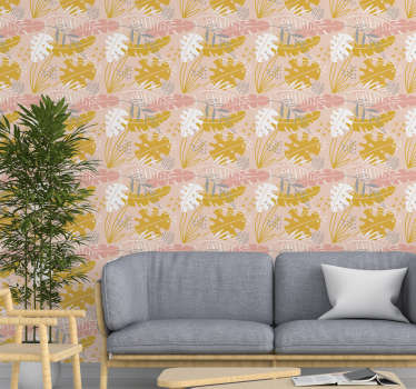 This modern wallpaper with a floral pattern in a retro style is perfect for you! Its soft yet vivid colors will make your home a more pleasant space.