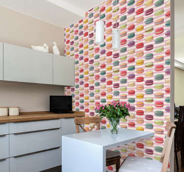This retro wallpaper with a pattern of macaroons on a pink and white striped background is perfect to give your kitchen a modern decor!