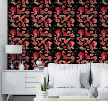 Majestic vintage wallpaper of red and pink tulips on a black background perfect to create a new atmosphere in your living room.