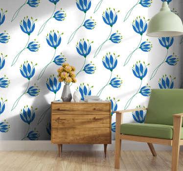 Красивые цветочные обои с рисунком из синих тюльпанов на белом фоне, идеально подойдут для вашей гостиной или спальни с двуспальной кроватью.