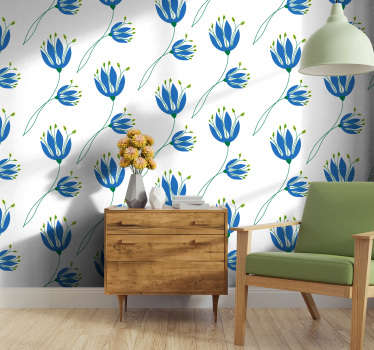 Hermoso papel pintado flores con un patrón de tulipanes azules sobre un fondo blanco, perfecto para su sala de estar o dormitorio doble.