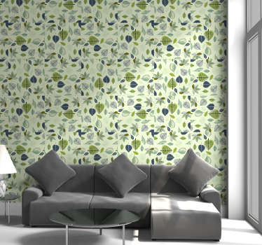 Bring the nature's peace and tranquility to your home decors with this fantastic nature wallpaper with a leaf pattern on a lime green background.