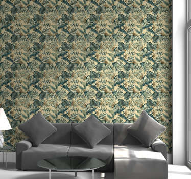 This nature wallpaper with a pattern of tropical leaves on a beige background will make your living room or bedroom a beautiful and lively space.